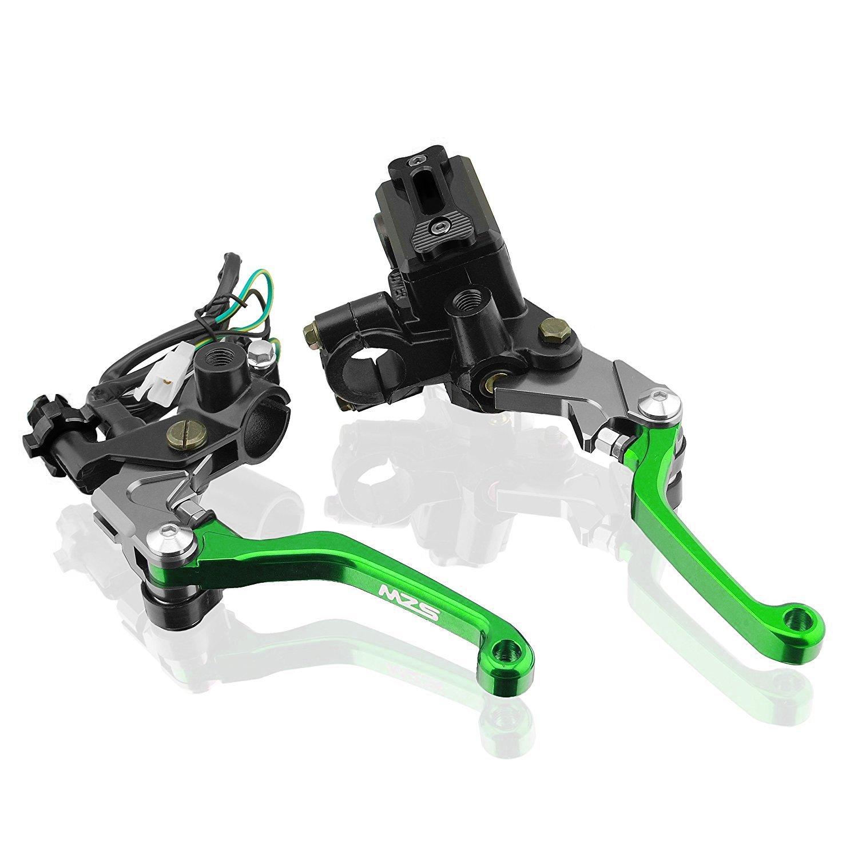MZS 7/8'' Brake Master Cylinder Reservoir Pivot Levers for Honda Yamaha Suzuki Kawasaki KTM and more Green