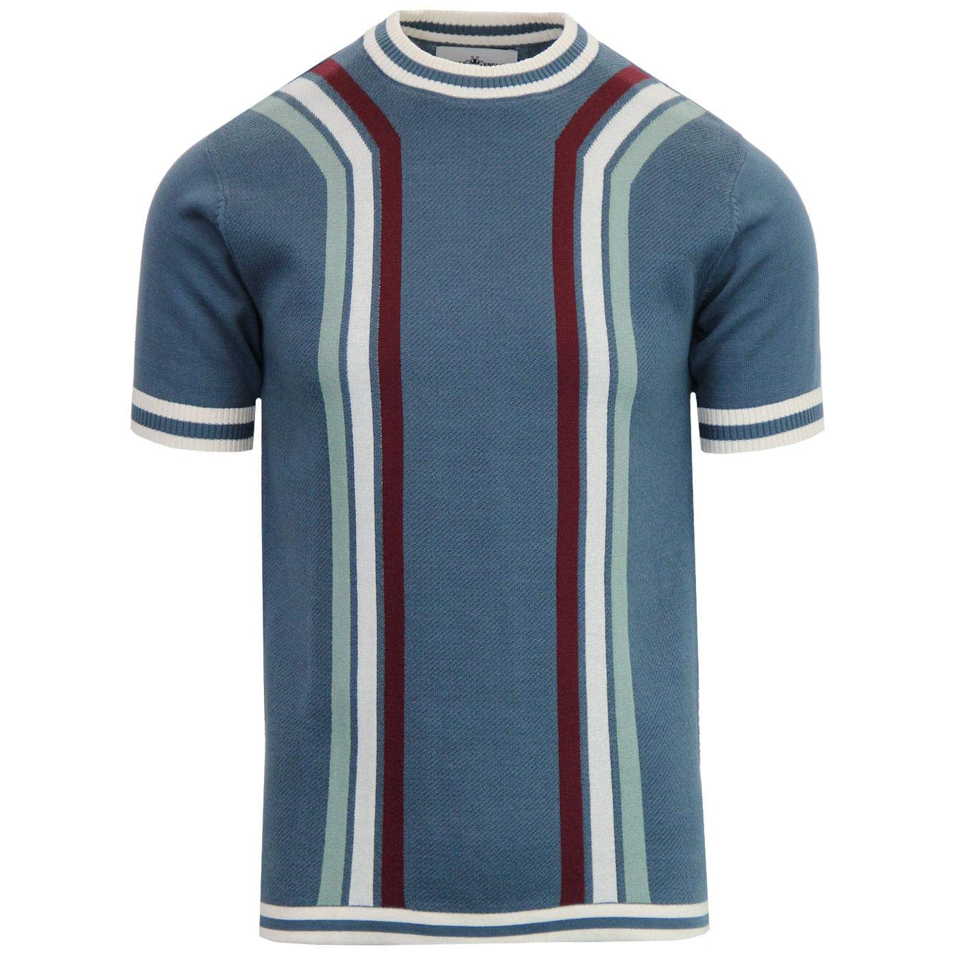 1960s – 70s Mens Shirts- Disco Shirts, Hippie Shirts Madcap England Modernista Mens Retro 60s 70s Waffle Knit Short Sleeve Knitted Striped T-Shirt Jumper £29.99 AT vintagedancer.com