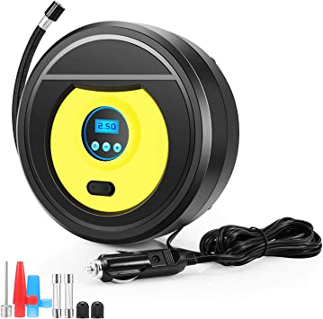 ROSI Air Compressor Pump 12V Tire Pump Auto Shut Off with LED Light /& Digital Display Pressure Gauge up to 150PSI Air Pump for Car Tires Bicycle and Other Inflatables