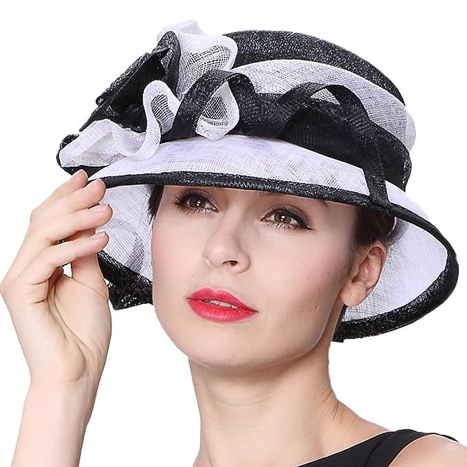 June S Young Donna Derby di cappelli cappello fiori di canapa cappello con  fiocco 085af9d72652