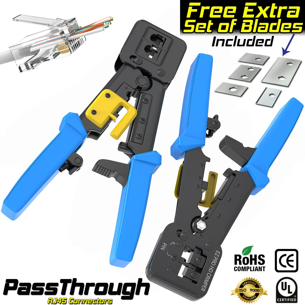 RJ45 Crimp Tool for Pass-through and legacy connectors | Professional High Performance Crimper Tool