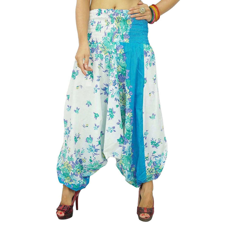 Weiße Baumwolle Haremcasual Pants Woman Dhoti Blumendruck Sommer-Hippie Hosen Indien Geschenk
