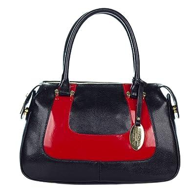 e2492251bc Giordano Italian Made Black   Red Leather Small Tote Handbag  Handbags   Amazon.com