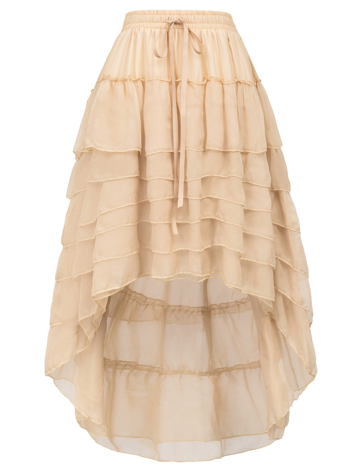 Belle Poque Women's Steampunk Pirate Skirt High Low for Wedding BP227-2 Size S Champagne