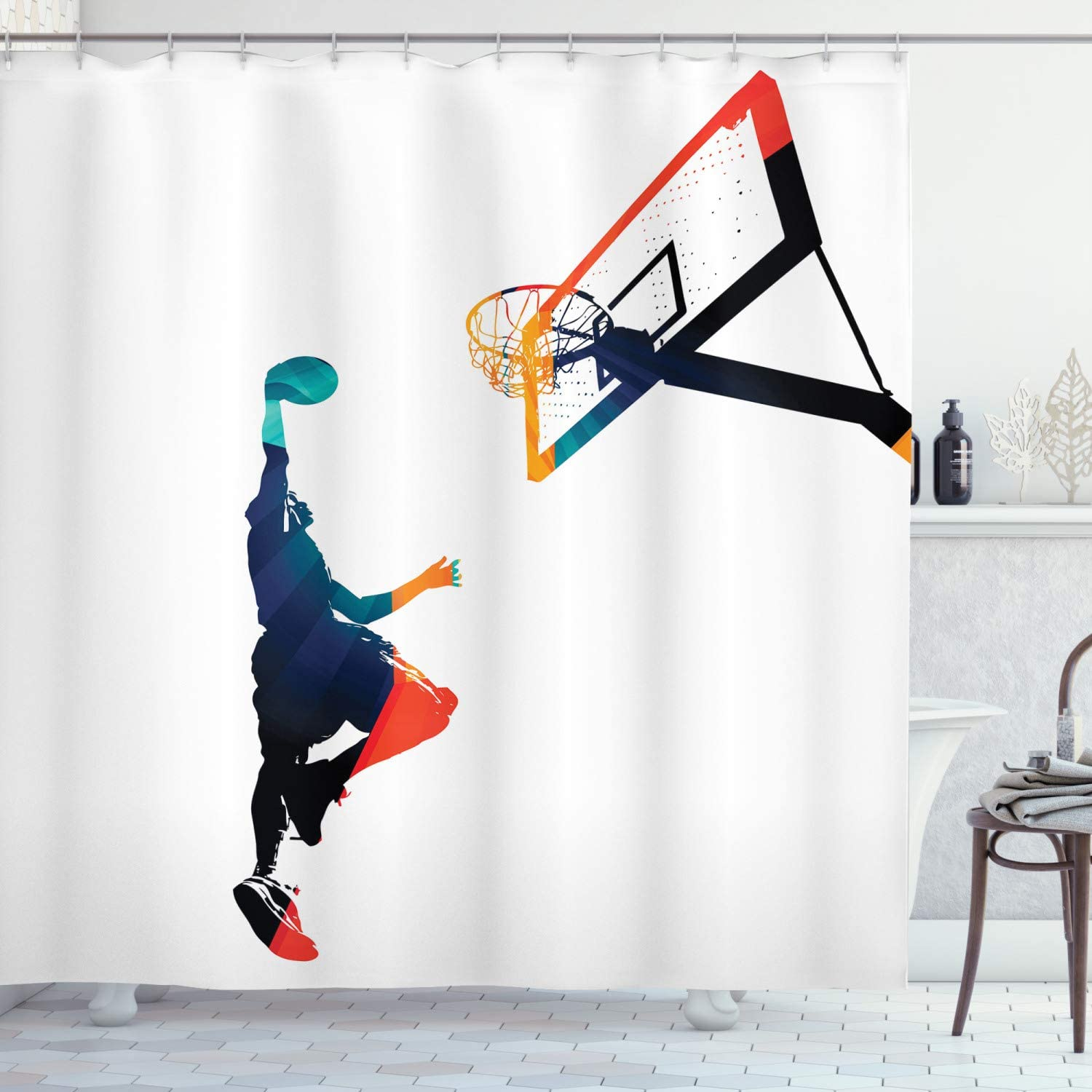Ambesonne Sports Shower Curtain, High Contrast Silhouette Artwork of an Athlete Slam Dunking Basketball, Cloth Fabric Bathroom Decor Set with Hooks, 84
