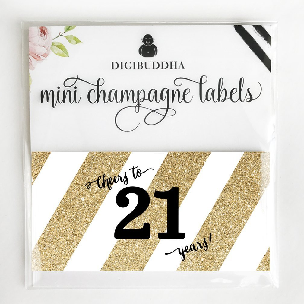Decorations Handmade Products Girlfriend Twenty One Legal Celebrate 21 Years Old Decorations Mini Champagne Mini Wine Bottle Labels Sister 20 Count Golden Decals 21st Surprise Birthday Party Gift Ideas Dorm Roommate