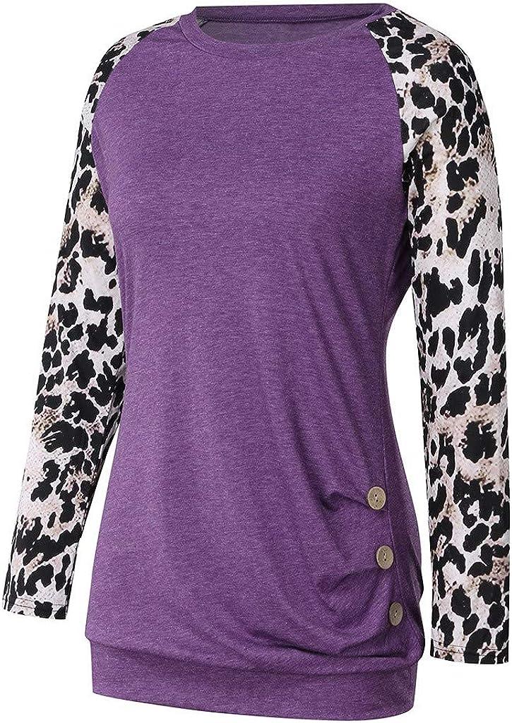 ZSBAYU Women Leopard Print Color Block Shirts Crewneck Sweatshirts Casual Long Sleeve Patchwork Pullover Tops Blouses
