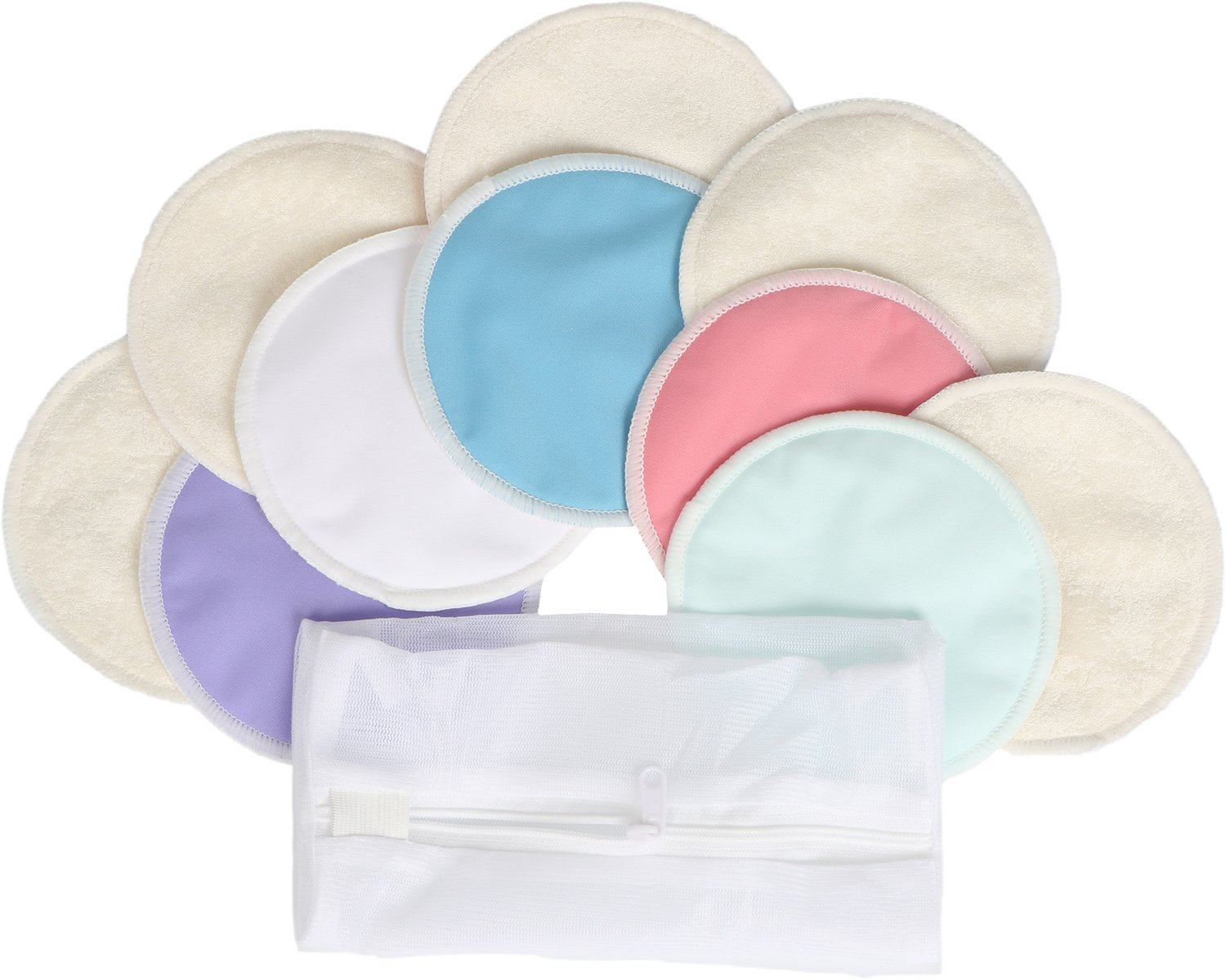 Washable Organic Bamboo Nursing Pads,Reusable Breast Pads Breastfeeding Pads with Laundry Bag,Sizes: M 3.9'',Multi-Color,Pack of 10