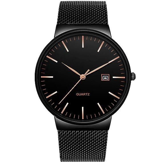 best service 8873c 788a4 腕時計、メンズ腕時計 超薄型クラシックシンプルなブラックステンレスファッションカジュアル腕時計男女兼用カレンダー防水ミラノ時計