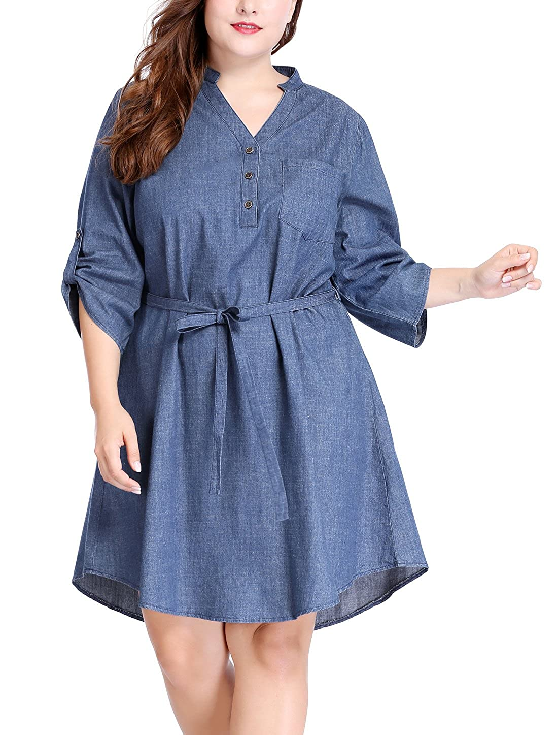uxcell Women's Plus Size Roll up Sleeves Above Knee Belted Denim Dress g16120100ux0011