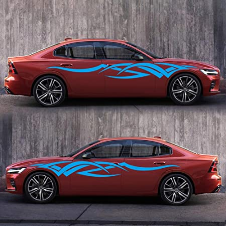 Car Body Sides Flame Graphic Vinyl Decal Stickers Waterproof Fade-resistant DIY