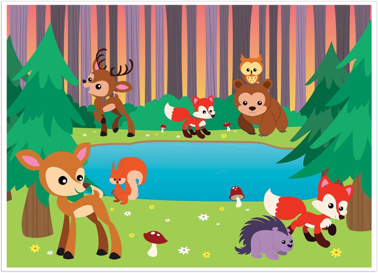 Amazon.com: Blue Panda Photo Backdrop - Woodland Animals Photo-Booth  Background with Cute Forest Animals, Great for Kids, Girls, Boys Birthday  Parties DIY Photo-Booth, 5 x 7 Feet: Home & Kitchen