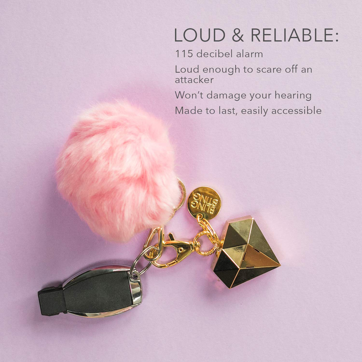 Personal Safety Alarm for Women - Ahh!-larm! Self-Defense Personal Panic Alarm Keychain for Women with LED Safety Light and Clip, Gold Gemstone Diamond by BLINGSTING (Image #5)