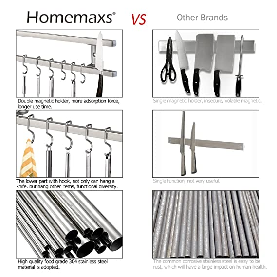 HOMEMAXS Soporte magnético para cuchillos con 8 ganchos ...