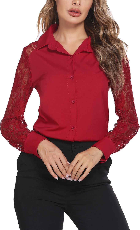 SoTeer Womens Basic Button Down Shirt Lace Long Sleeve V Neck Blouse Work Dress Shirt