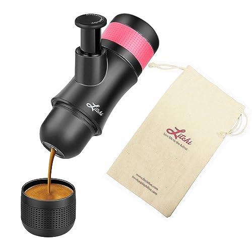 Máquina portátil de espresso por Litchi cafetera de viaje manual 3 oz con cesta de filtro adicional, bolsa de regalo
