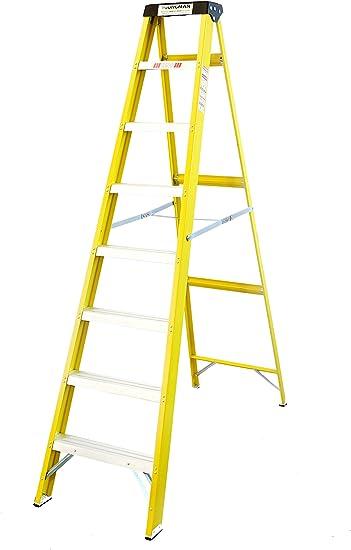 Escalera con soporte (fibra de vidrio, 7 peldaños): Amazon.es: Bricolaje y herramientas