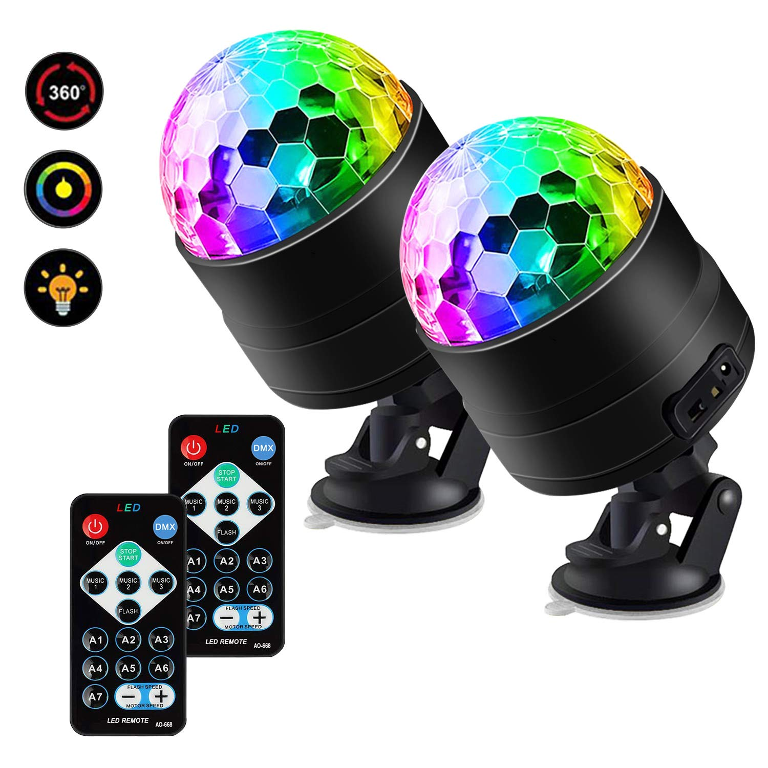 Party Lights,7 Colors Portable Activated Disco Ball Strobe Light Disco Lights Stage Light with Remote Control for Festival Bar Club Party Wedding Show Home for Outdoor and Indoor-2 Pack