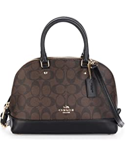 a694c78ce7ab Coach F27583 IMAA8 Mini Sierra Satchel Brown Black Signature Crossbody  Handbag