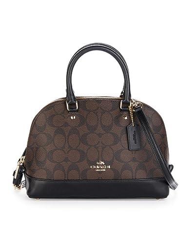 05bfcb49f635f Amazon.com  Coach F27583 IMAA8 Mini Sierra Satchel Brown Black Signature  Crossbody Handbag  Shoes