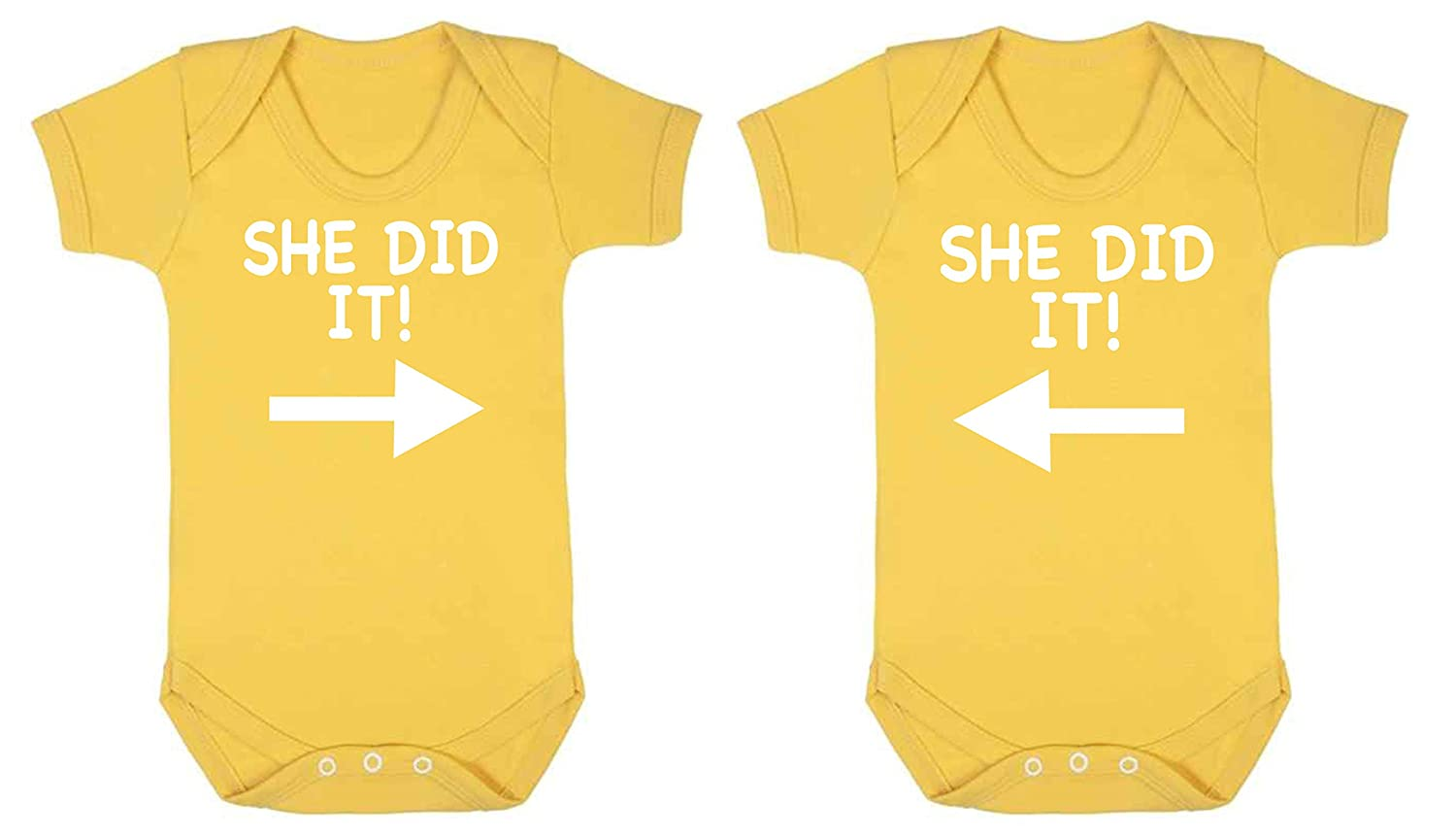 ICKLE PEANUT She Did it Twin Set Pack Of Two Funny Baby Vest Baby Grow Bodysuit Yellow
