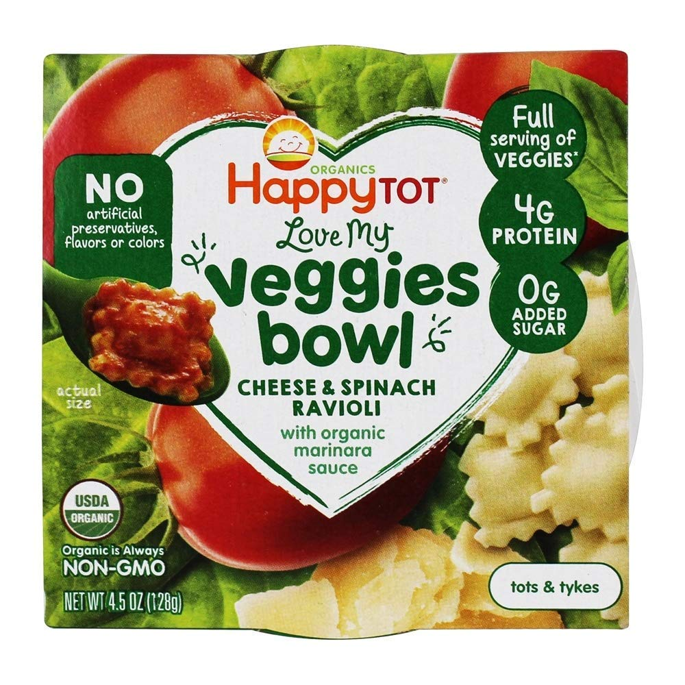 Happy Tot, Love My Veggies Ravioli Meal, 4.5 Ounce Bowl (8 Count) Cheese and Spinach Ravioli with Marinara Sauce, Full Serving of Veggies, 0g Added Sugar, Organic Ready to Eat Toddler Food