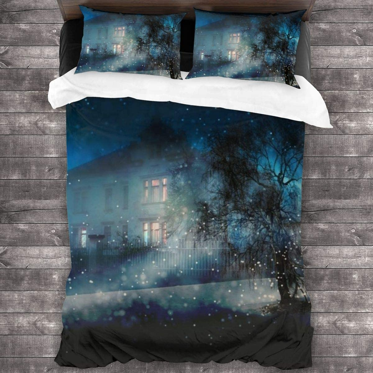 AUISS 3 Piece Bedding Set Moonlight Snow Quilt Cover Bedroom Comforters Microfiber Sheet Two Pillowcase Comfy Bedspread Coverlet Hotel Decorative