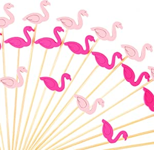 SATINIOR 100 Pieces 4.7 Inch Flamingo Cocktail Picks Fruit Sticks Bamboo with Wooden Flamingo for Hawaiian Tropical Luau Party Supplies
