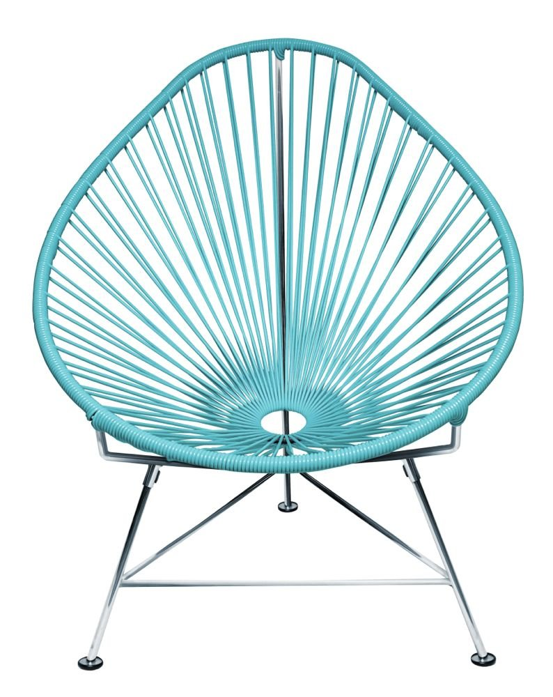 Amazon.com : Innit Designs Acapulco Chair, Blue Weave on Chrome ...