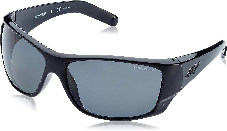 Arnette Men's Heist 2.0 Polarized Rectangular Sunglasses, black, 65.7 mm