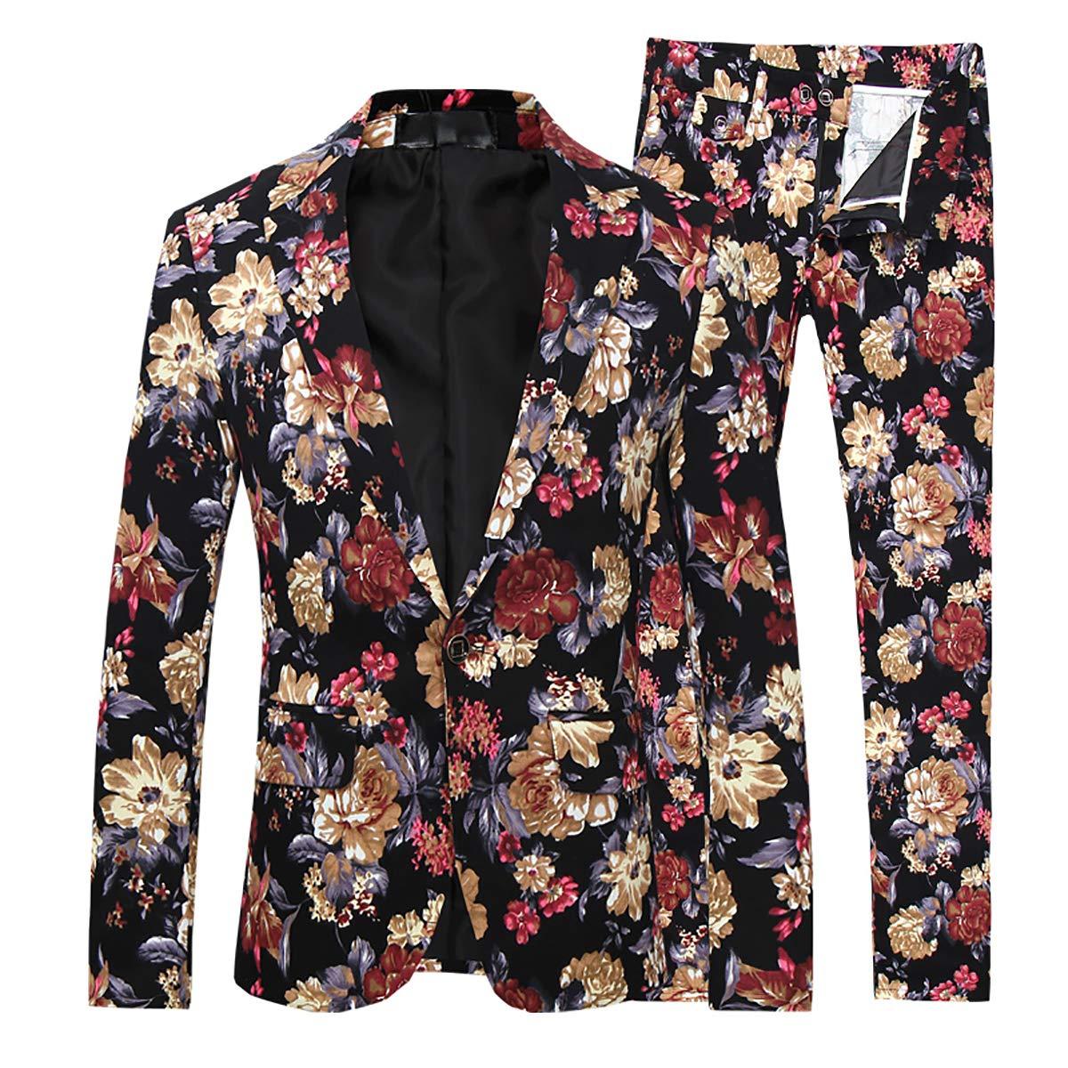 Mens 2 Piece Suit Notched Lapel Sport Coat Floral One Button Slim Fit Tweed Suit, K1, Large by Cloudstyle
