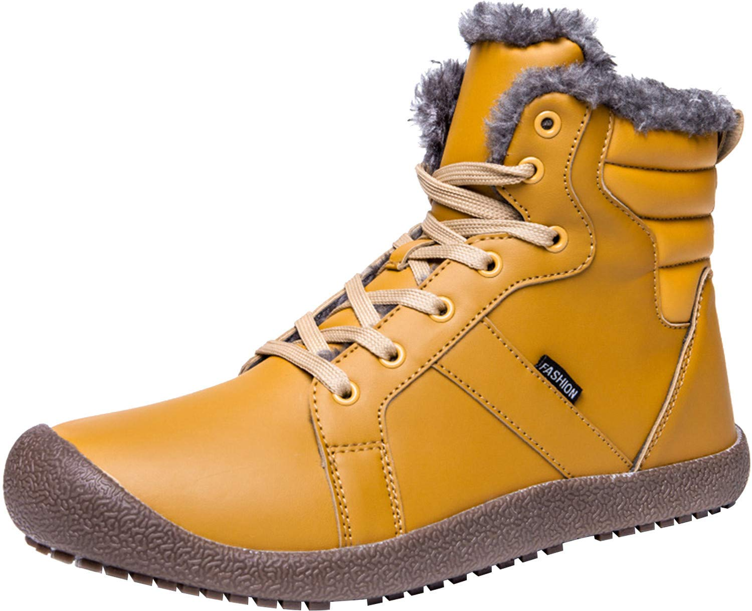 JIASUQI Classic Athletic Short Winter Boots Insulated Snow Booties for Women Yellow 8.5 M US