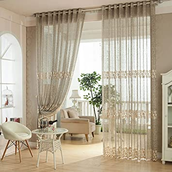 YouYee Fashionable Window CurtainsHome Fashions Elegant Semi Sheer Ruffled Curtain Panels Treatments