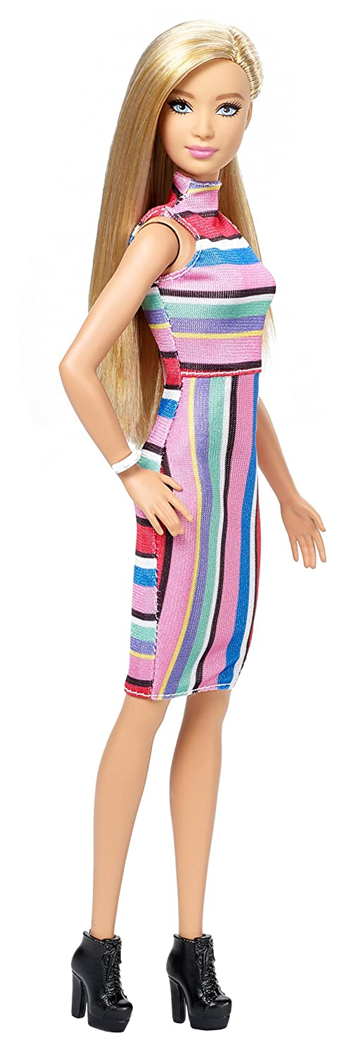 Amazon.es: Barbie Fashionista Vestido Cuello Halter Rayas (Mattel ...