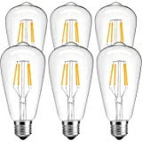 Vintage Edison Light Bulb,LuminWiz 4W ST64 Antique Style LED Bulb Filament Light,2700K,E26 Medium Base Lamp,330 Lumens,SoftWarm,6-Pack