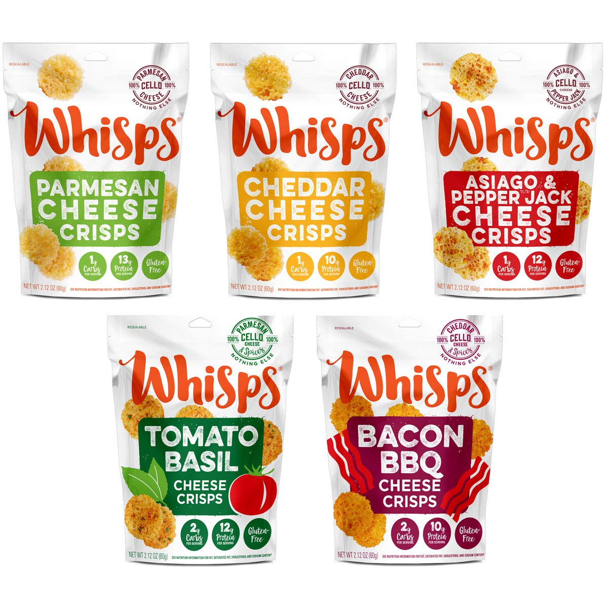Whisps Cheese Crisps 100 Cheese Crunchy Assortment Keto Snack No Gluten No Sugar Low Carb High Protein 2 12 Ounce 5 Pack