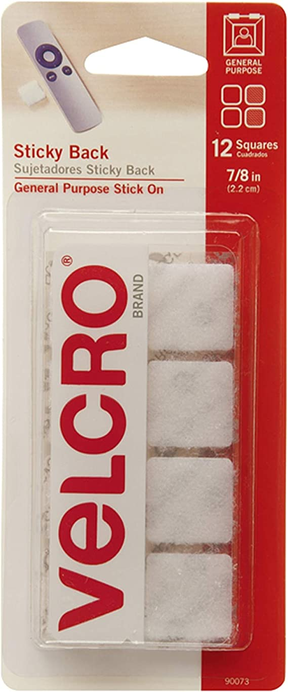 Amazon Com Velcro Brand Mounting Squares Pack Of 12 7 8 Inch White Adhesive Sticky Back Hook And Loop Fasteners For Home Office Or Crafting Strong Secure Hold 90073 Office Products