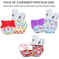 Superbottoms Cloth Diapers Plus Reusable All in One Diaper with 2 Organic Cotton Soakers and Dry Feel (Pack of 3)