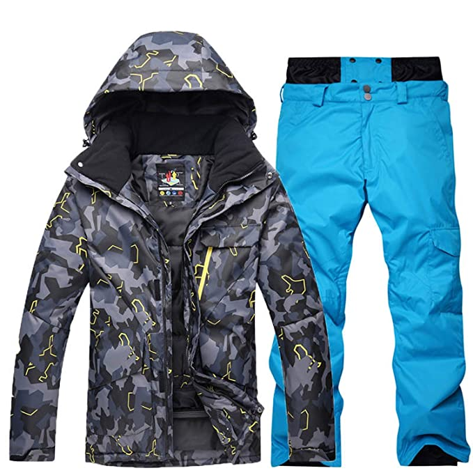 2b5a96b5a2a Image Unavailable. Image not available for. Color  Plus Size Jacket and Pant  Men Snow Suit Outdoor Sports Special Snowboarding Sets Windproof Waterproof  Ski