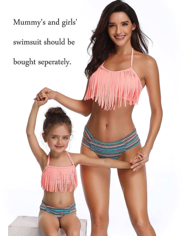 22c78a528e71f Amazon.com: Girls Swimsuit Two Pieces Bikini Set Tassel Falbala Matching Swimwear  Bathing Suits: Clothing