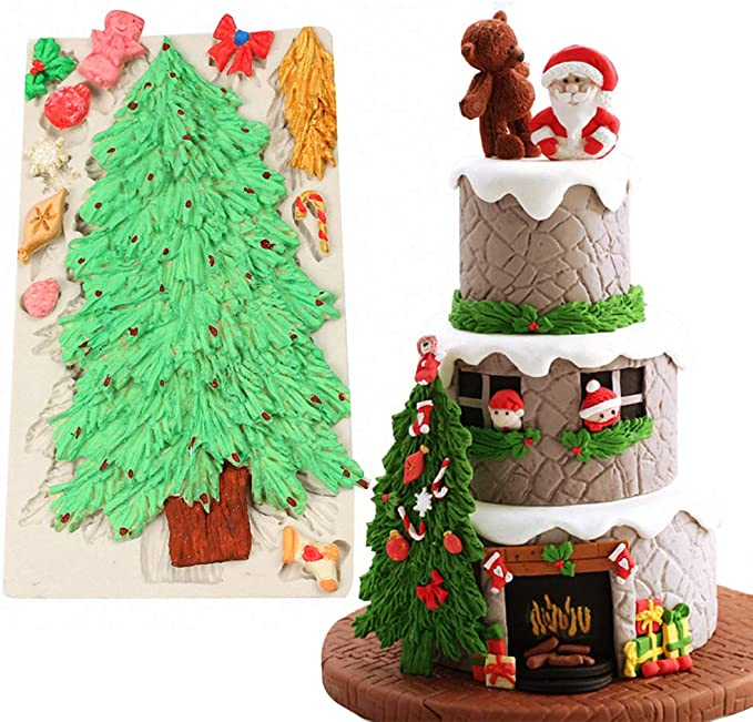 3D Christmas Tree Branch Silicone Mold Fondant Cake Decor Sugarcraft Bake Mould