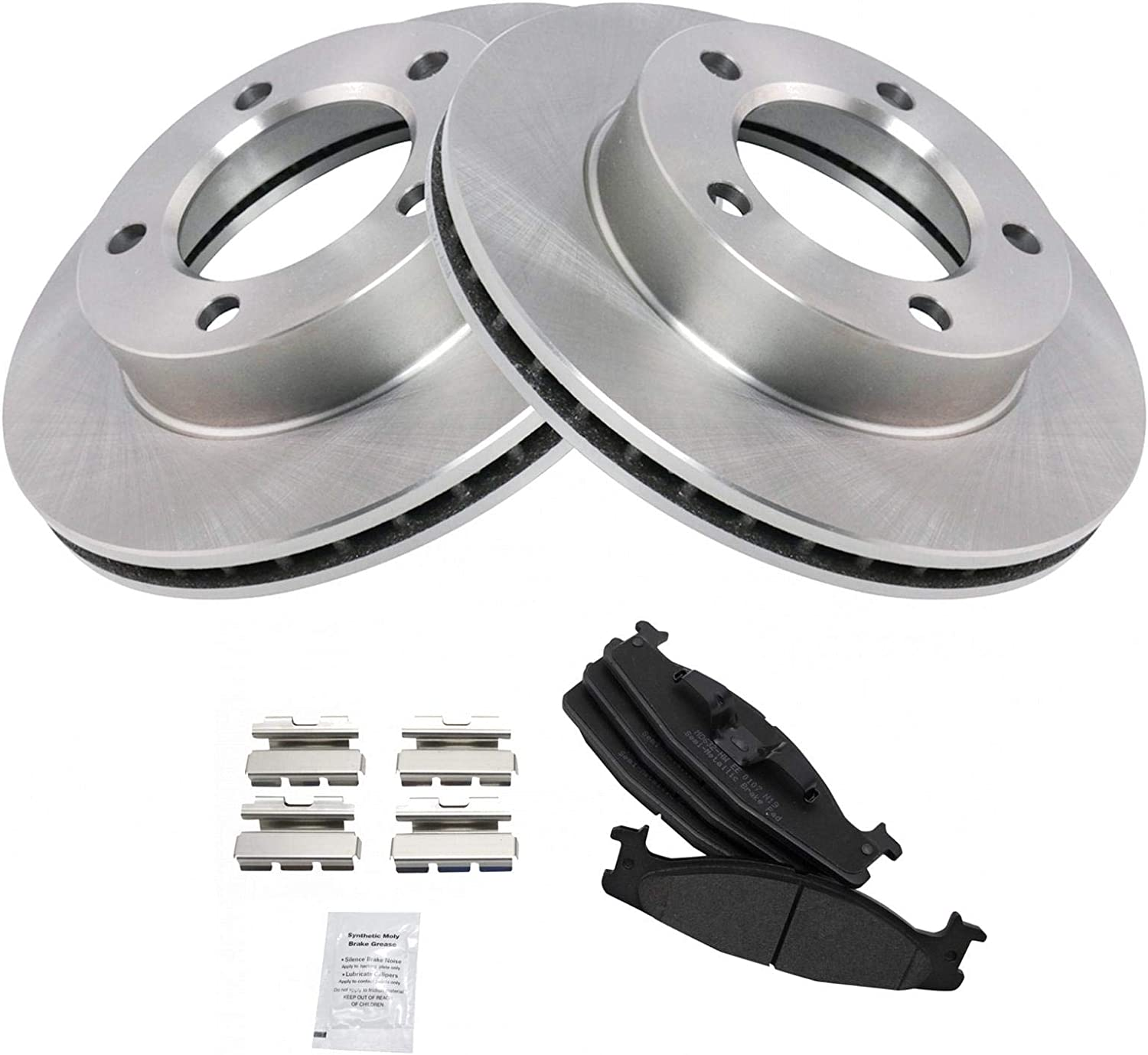 F150 2WD 94-96 FRONT Drilled Slotted Brake Rotors Pads