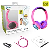 Contixo KB300 Kid Safe 85DB Over the Ear Wireless Bluetooth LED Headphone w/Volume Limiter, Built-in Microphone, Micro SD, FM Stereo Radio (Pink) - Best Gift For Christmas