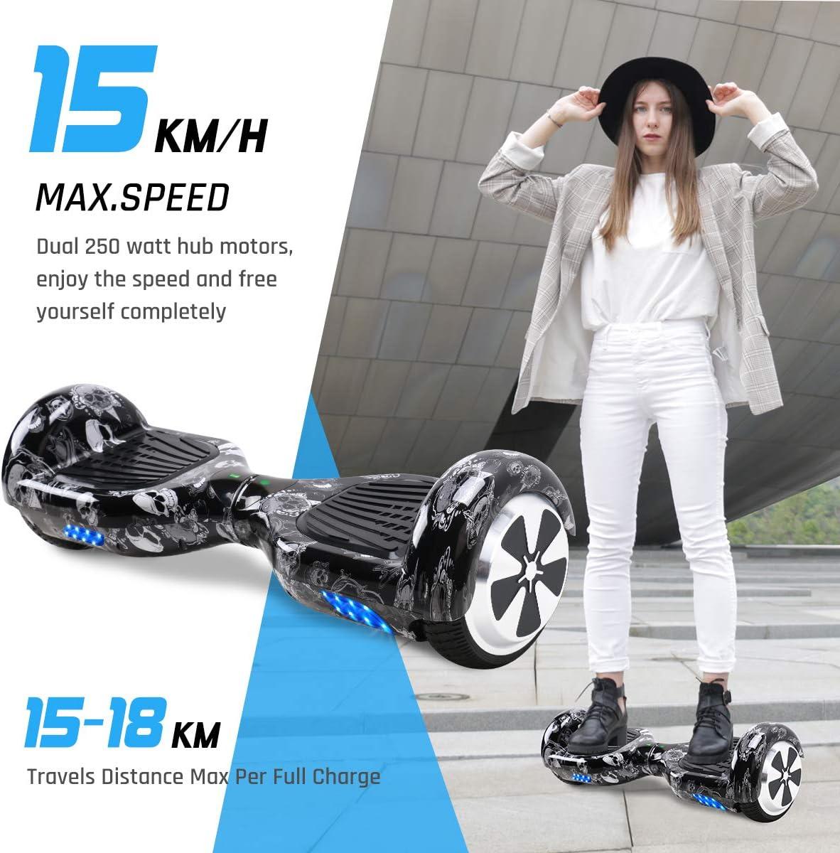 Motore 2 x 250W TOEU Hoverboard Scooter Elettrico Autobilanciato con Bluetooth e Luci LED Ruote 6,5 Pollici