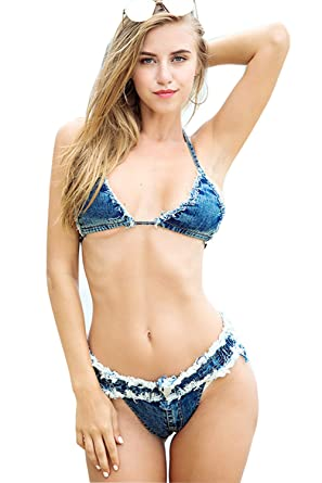 464e0512c0 Cresay Women s Sexy Denim Bikini Set Costumes Clubwear Swimsuit-shortsbraX-S