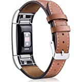 [Most Viewed] for Fitbit Charge 2 Bands, Hotodeal Classic Genuine Leather Wristband with Metal Connectors, Fitness Strap for Women Men Small Large