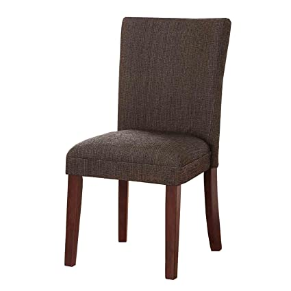 HomePop Parsons Upholstered Accent Dining Chair, Single Pack, Textured Brown