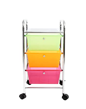 Finnhomy Chrome Metal Frame And 3 Semi Transparent Multi Color Drawer  Plastic Portable Rolling