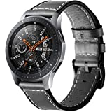 VICARA Compatible Samsung Galaxy Watch (46mm) Bands, Genuine Leather Replacement Band with Stainless Steel Buckle Accessory Wristband Strap Compatible Samsung Galaxy Watch 46mm SM-R800/SM-R805 Smart Watch (B-Black)
