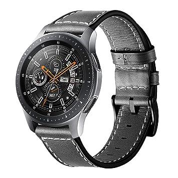 Circle compatible para Galaxy Watch 46 mm correa de reloj, correa de cuero genuino de 22 mm correa de repuesto de acero inoxidable corchete para ...